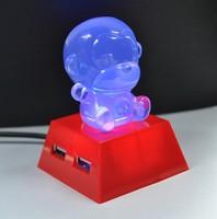 Free shipping new 2014 Big ears little monkey colorful lights hub splitter hub