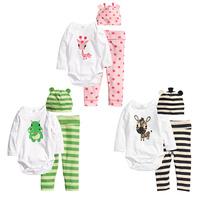 Retail Autumn Romper set 2014 baby wear boys romper babys Zebra Christmas style romper print Giraffe rompers +hat+pants 3pcs set