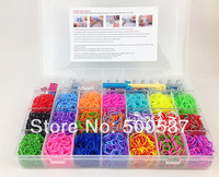 Loom bands Family loom kit New 4200pc Mega Loom KitSuperior Loom&Hook+120clips+18pcs charms DIY bracelet silicone bands loom kit