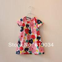 2014 new arrival wholesale Fashion children's clothing one-piece summer female short-sleeve flower dress girl's princess dresses