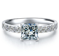 T-Brand Jewelry Women's S925 Silver Filled Diamonique Square White Sapphire CZ Crystal Stone Wedding Ring