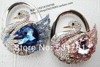HH0042  Newest Stylish women favors Bag gifts 2014 shiny bling luxury  crystal Swan Design Bag Hanger foldable Bulk .Full Stock