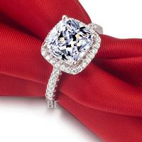 Brand Jewelry Women's S925 Silver Filled Diamonique White Sapphire CZ Crystal Stone Wedding Ring