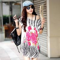 2014 lycra cotton flower pattern plus size t-shirt 75446
