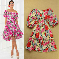 Free shipping 2014 spring and summer fashion women's slash neck off the shoulder sexy strapless vintage flower printing dress