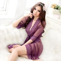 Core temptation purple cardigan robe female summer sexy sleepwear lounge underwear short skirt nightgown set free shipping