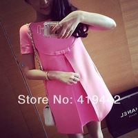 2014 new summer loose plus size casual maternity clothing candy color bow decoration one-piece maternity dress for pregnant