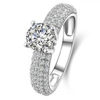 Stunning Women's S925 Silver Filled Diamonique White Sapphire CZ Crystal Stone Pav Set Wedding Ring