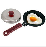 Free Shipping Mini lovely Heart Shaped Fried Egg Fry pan cook pan with cover Non-Stick