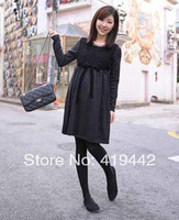 Maternity clothing 2014 spring long-sleeve fashion high waistline belt one-piece casual maternity dress for pregnant
