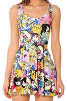 Black Milk Brand Adventure Time Bro Ball Reversible Skater Dress 2014 digital print cartoon animal pleated one-piece clothing