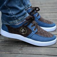 2014 Autumn color block decoration canvas shoes male low lacing casual fashion shoes skateboarding shoes men's