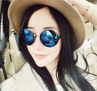 Wholesale and Retail new fashion summer sunglasses vintage round blue sunglasses mirror eyewear beach travel accessories1pc
