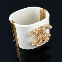 Hot sell Luxury fashion enamel flowers the drill pearl bracelet Wide version high quality women fashion brand bracelet & Bangles