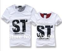 New Fashion Summer Short Sleeve Tops ST Print Lovers Tees Cotton Slim Couple Shirts Men Leisure T Shirt
