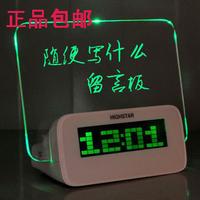 2014 New multifunctional luminous neon message board electronic digital clock alarm clock gift USB chargeable + calendar