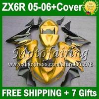 7gifts+Tank Cover black flames For KAWASAKI NINJA ZX6R ZX-6R ZX 6R 636 JM9136 ZX636 gold black 2005 2006 05 06  Fairing Kit