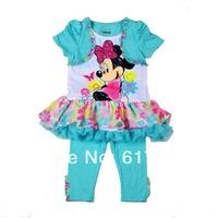 Wholesale 6pcs/lot Girls Brand Clothing Cute Baby Sets Kids Sets Minnie Girls Clothing Sets Chiffon Lace Top T-shirts+leggings