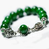 Free Shipping!2014 NEW! China National Style Jewelry Retro Tibetan Silver Auspicious  Phoenix Malachite  Beads Bracelet,IN-B-15