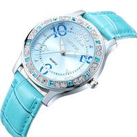 SKONE Fashion Rhinestone Dial Women Watches Genuine Leather strap Alanog Display Quartz Casual Watch