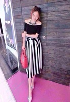 free shipping 9910  high quality black and white stripe bust skirt modal slit neckline black top vintage sheds  dress suit