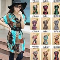 2014 women's fashion short-sleeve wide belt one-piece dress plus size cotton viscose loose dresses
