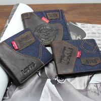 2014 New High Quality Vintage Fashion Cowboy Genuine Leather Cowhide Men Short Bifold Horizontal Wallet Wallets Purse For Men