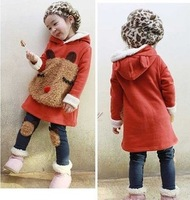 Children's clothing female child autumn and winter 2013 child set fleece sweatshirt baby winter thickening plus velvet twinset