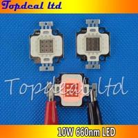 2pcs/lot 10Watt 10W red High Power Bright LED Bulb 10W plant deed red Lamp Light 660NM for plant light led