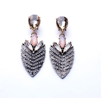 2014 Luxury Brand Chunky Vintage Water Arrow/Leave Crystal Earring Statement Jewelry For Women Free Shipping JZ040617