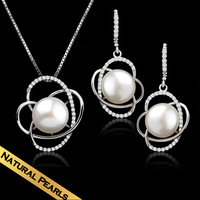 Special Classic Choker Necklaces&Earrings 925 Silver Natural pearls Fashion Design Free Shipping Pendant Jewelry TZ14A033103