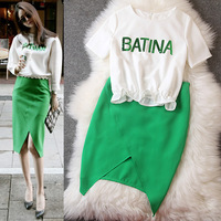 New 2014 Spring Summer Women Brand White Sequins Letters Tops + Green Irregular Skirt,Ladies Fashion Casual Star Clothing Set