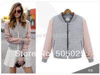 New Women's Autumn & Winter cotton sweatshirts V neck Stitching PU long-sleeved casual baseball coat Varsity jacket good quality