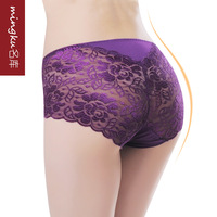 Female Briefs Perspective sexy temptation transparent lace plus size mid waist triangle panty