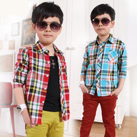 2014 new fashion spring and autumn 100% cotton boy kids long-sleeve plaid boys formal shirt,blouse children,children t shirts