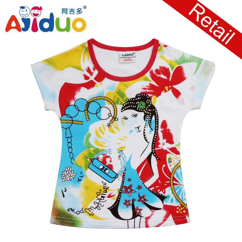 Retail Ajiduo New Casual Ajiduo Kids Wear Brand Kid Clothes Children Print T Shirt For Summer Girl T Shirt Fit 1-6Years(China (Mainland))