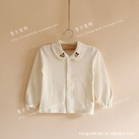 2014 spring and autumn kids baby and children  Micky  white long sleeve shirt  cotton Mickey embroidery