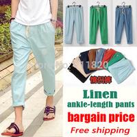 2014 Better fabric Linen Flat Front Drawstring Casual Linen Pants elastic waist loose trousers Bottoms 2 BHFO
