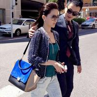 Bolsa Real Rushed Flap Pocket Women Handbags 2014 Fashion Nubuck Leather Color Block Big Ear Smiley Bag Swing Women's Handbag