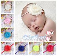 Shabby Chic Flower Thin Elastic Headband For Baby Girls Infant Flower Headband Boutique Hair Bows 20pcs HB032