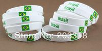 2014 World Cup soccer fans wristband / bracelet strap Brazil fans / Brazilian flag silicone bracelet hand ring 100pcs/ lot