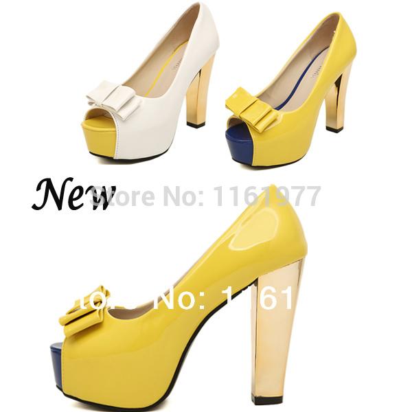 Neon Yellow Pumps.Red Sole Heels.Big Size 9 Shoes For Women.Platform Pump.White Pumps.Open Toe Heel.PU Stileto Neon Nude Pump(China (Mainland))