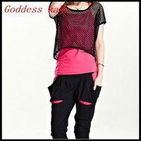 New 2014 free shipping fashion casual women set gauze element camisole harem pant three piece clothing set S015