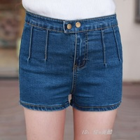New 2014 Spring plus size women's slim black high waist denim shorts female summer shorts jeans women