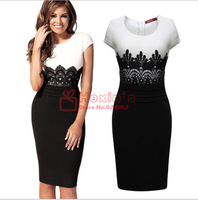 New 2014 European and American sexy Slim knee-length O-neck stitching lace Evening dress Women Winter Dress Patterns Brand