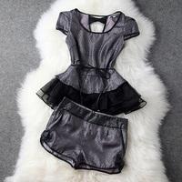 New 2014 Spring Summer Euroepan Style Women Brand Vintage Black/White Bow Lace Organza Tops + Short,Ladies Runway Clothing set