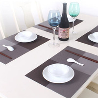 2014 Rushed Promotion 4pcs/lot Pvc Placemat Dining Table Mat Heat Insulation Pad Fashion Lattice Stripe Wine Tableware 30x45cm