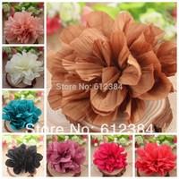 "Hair flowers Chiffon 4.6"" Soft Silk Flowers Solid Flod Flower Flat Back Fluffy Flower for headband tulle flowers 100PCS"
