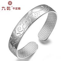 Silver silver bracelet 999 pure silver women's 999 fine silver bracelet flower pure silver bracelet sliding