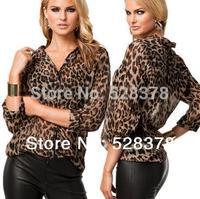 Plus Size XXL New 2014 Sexy Fashion Shirt Women Blouses Novelty Leopard Print Blouse Long Sleeve Chiffon Shirts Brand Blouse h44